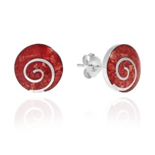 Handmade Red Synthetic Coral Round .925 Sterling Silver Post Earrings