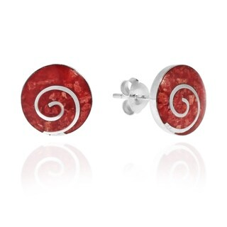 Handmade Red Synthetic Coral Round .925 Sterling Silver Post Earrings (Thailand)