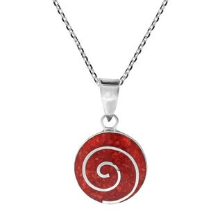 Red Coral Spiral Disc .925 Sterling Silver Necklace (Thailand)