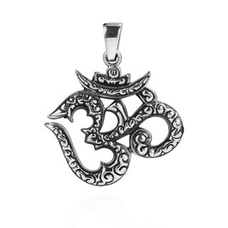 Detailed Aum or Om Sign Symbol .925 Sterling Silver Pendant (Thailand)
