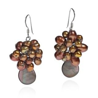 Handmade Blooming Floral Cluster Pearls Sterling Silver Earrings (Thailand)