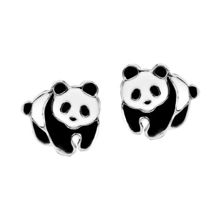 Adorable Panda Bear Enamel Sterling Silver Stud Earrings (Thailand)