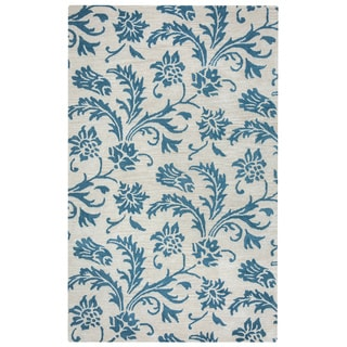 Arden Loft Crown Way Natural/ Teal Floral Hand-tufted Wool Area Rug (5' x 8')