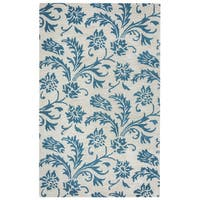 Arden Loft Crown Way Natural/ Teal Floral Hand-tufted Wool Area Rug - 5' x 8'