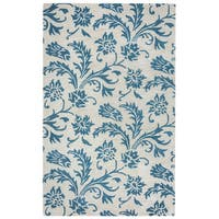 Arden Loft Crown Way Natural/ Teal Floral Hand-tufted Wool Area Rug (10' x 14')