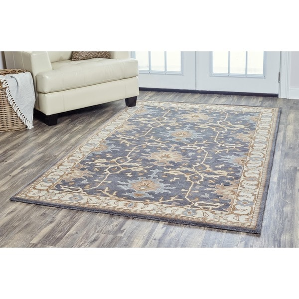 Shop Beige Wool Hand Knotted Oriental Persian Area Rug 6: Shop Arden Loft Crown Way Charcoal Grey/ Beige Oriental