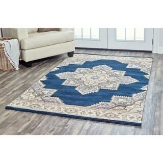 Arden Loft Crown Way Indigo Blue/ Shades of Navy Blue Oriental Hand-tufted Wool Area Rug - 5' x 8'