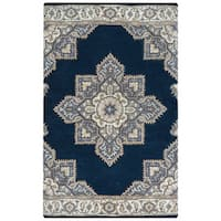 Arden Loft Crown Way Indigo Blue/ Shades of Navy Blue Oriental Hand-tufted Wool Area Rug (8' x 10')