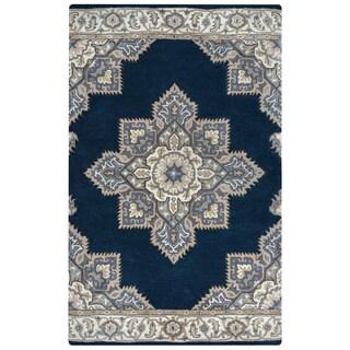 Arden Loft Crown Way Indigo Blue/ Shades of Navy Blue Oriental Hand-tufted Wool Area Rug (9' x 12')