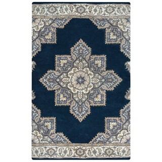 Arden Loft Crown Way Indigo Blue/ Shades of Navy Blue Oriental Hand-tufted Wool Area Rug (2'6' x 8')