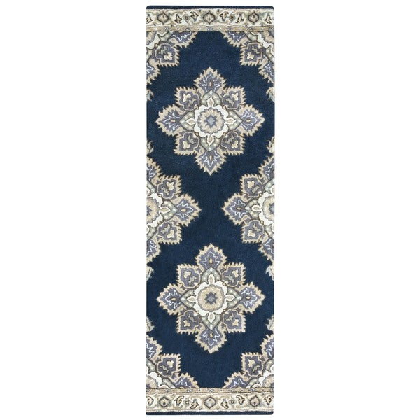 Arden Loft Crown Way Indigo Blue Shades Of Navy Oriental Hand Tufted Wool
