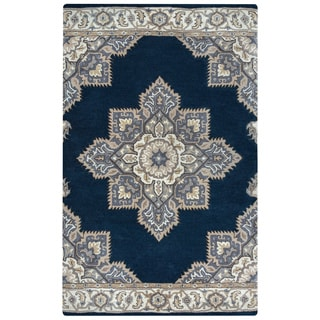 Arden Loft Crown Way Indigo Blue/ Shades of Navy Blue Oriental Hand-tufted Wool Area Rug (2'6' x 10')