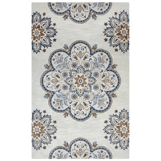Arden Loft Crown Way Beige/ Charcoal Grey Floral Hand-tufted Wool Area Rug (5' x 8')