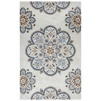Arden Loft Crown Way Beige/ Charcoal Grey Floral Hand-tufted Wool Area Rug (5' x 8') - 5' x 8'