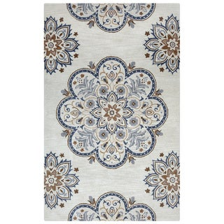 Arden Loft Crown Way Beige/ Charcoal Grey Floral Hand-tufted Wool Area Rug (8' x 10') - 8' x 10'