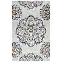 Arden Loft Crown Way Beige/ Charcoal Grey Floral Hand-tufted Wool Area Rug (8' x 10')