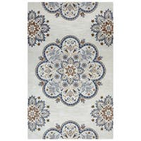 Arden Loft Crown Way Beige/ Charcoal Grey Floral Hand-tufted Wool Area Rug (9' x 12')