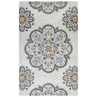 Arden Loft Crown Way Beige/ Charcoal Grey Floral Hand-tufted Wool Area Rug (10' x 14') - 10' x 14'