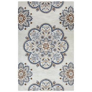 Arden Loft Crown Way Beige/ Charcoal Grey Floral Hand-tufted Wool Area Rug (2'6' x 8')