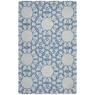 Arden Loft Easley Meadow Beige/ Blue Geometric Abstract Hand-tufted Wool Area Rug (5' x 8')
