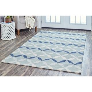 Arden Loft Easley Meadow Blue/ Grey Geometric Hand-tufted Wool Area Rug (5' x 8')