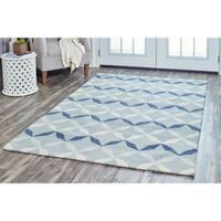 Arden Loft Easley Meadow Blue/ Grey Geometric Hand-tufted Wool Area Rug (5' x 8') - 5' x 8'