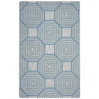 Arden Loft Easley Meadow Beige/ Light Blue Geometric Hand-tufted Wool Area Rug (5' x 8')