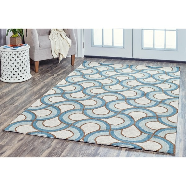 Arden Loft Easley Meadow Ivory/ Blue Geometric Abstract Hand-tufted Wool Area Rug - 5' x 8'