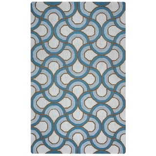 Arden Loft Easley Meadow Ivory/ Blue Geometric Abstract Hand-tufted Wool Area Rug (5' x 8')