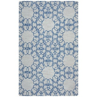 Arden Loft Easley Meadow Beige/ Blue Geometric Abstract Hand-tufted Wool Area Rug (2'6' x 8')