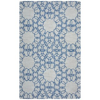 Arden Loft Easley Meadow Beige/ Blue Geometric Abstract Hand-tufted Wool Area Rug (2'6' x 10')