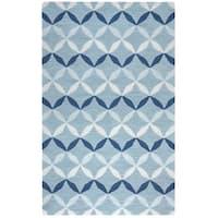 Arden Loft Easley Meadow Blue/ Grey Geometric Hand-tufted Wool Area Rug - 2'6' x 10'