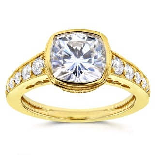 Annello by Kobelli 14k Yellow Gold 2 2/5ct TGW Cushion Bezel Moissanite (HI) and Diamond Engagement Ring