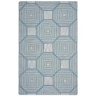 Arden Loft Easley Meadow Beige/ Light Blue Geometric Hand-tufted Wool Area Rug (2'6' x 10')