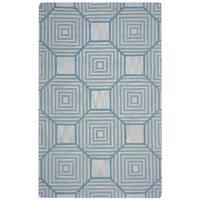 Arden Loft Easley Meadow Beige/ Light Blue Geometric Hand-tufted Wool Area Rug - 2'6' x 10'