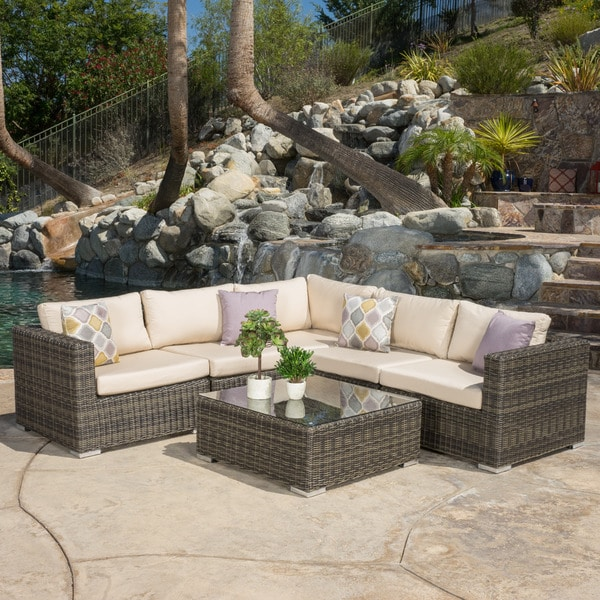 Santa rosa outdoor 6 piece wicker seating sectional set for Home design 6 piece patio set