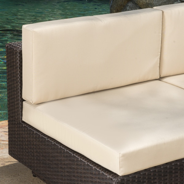 Santorini Outdoor 6 Piece Brown Wicker Sofa Set With Cushions By  Christopher Knight Home   Free Shipping Today   Overstock.com   17622622