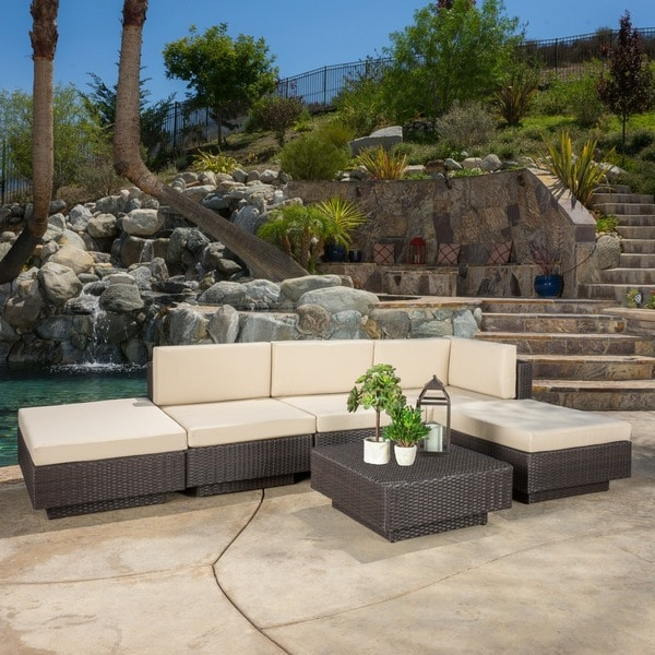 Great Santorini Outdoor 6 Piece Brown Wicker Sofa Set With Cushions By  Christopher Knight Home