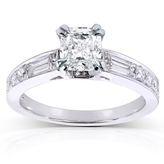 Annello by Kobelli 14k White Gold 1 1/2ct TDW Cushion Diamond Engagement Ring (H-I, I1-I2