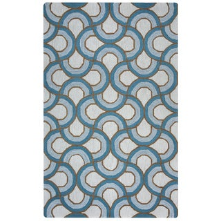 Arden Loft Easley Meadow Ivory/ Blue Geometric Abstract Hand-tufted Wool Area Rug (2'6' x 8')