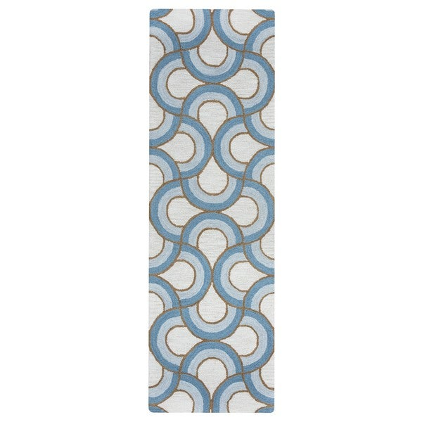 Arden Loft Easley Meadow Ivory/ Blue Geometric Abstract Hand-tufted Wool Area Rug (2'6' x 10') - 2'6 x 10'
