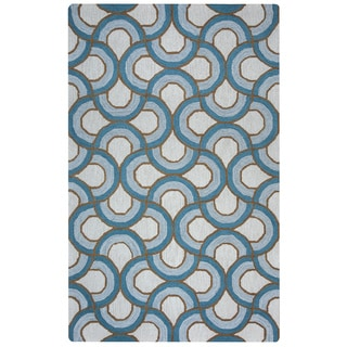 Arden Loft Easley Meadow Ivory/ Blue Geometric Abstract Hand-tufted Wool Area Rug (2'6' x 10')