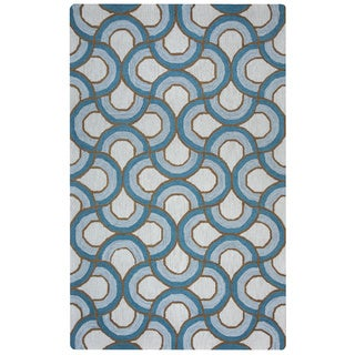 Arden Loft Easley Meadow Ivory/ Blue Geometric Abstract Hand-tufted Wool Area Rug (2'6' x 10') (Option: Natural)