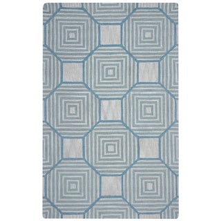 Arden Loft Easley Meadow Beige/ Light Blue Geometric Hand-tufted Wool Area Rug (8' x 10')