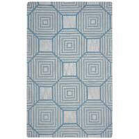 Arden Loft Easley Meadow Beige/ Light Blue Geometric Hand-tufted Wool Area Rug - 9' x 12'