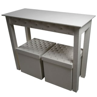 Off-white Leatherette Console with 2 Matching Storage Ottomans