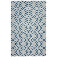 Arden Loft Easley Meadow Ivory/ Light Blue Geometric Abstract Hand-tufted Wool Area Rug - 9' x 12'
