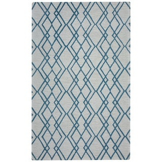 Arden Loft Easley Meadow Ivory/ Light Blue Geometric Abstract Hand-tufted Wool Area Rug (10' x 14')
