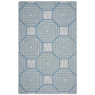 Arden Loft Easley Meadow Beige/ Light Blue Geometric Hand-tufted Wool Area Rug (10' x 14')