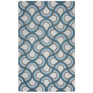 Arden Loft Easley Meadow Ivory/ Blue Geometric Abstract Hand-tufted Wool Area Rug (9' x 12')